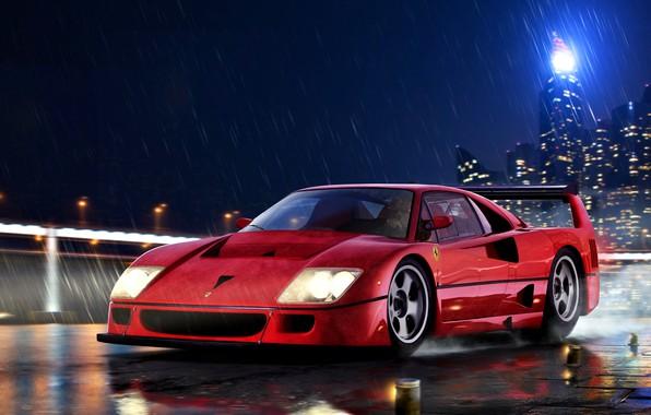 Picture Rain, Italy, Supercar, Ferrari F40, A two-door car