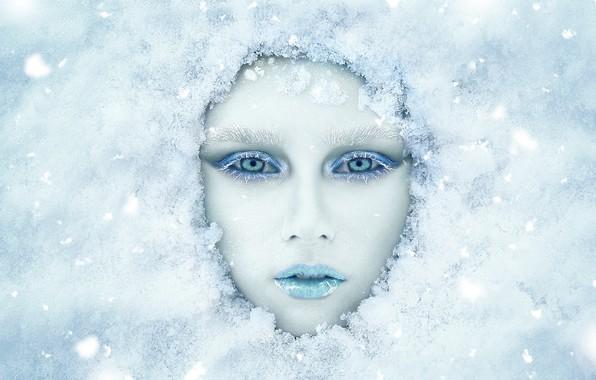 Picture winter, look, girl, snow, face, makeup, Renat Fotov, Anastasia Koshina