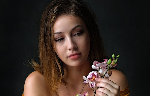 Picture look, girl, flowers, face, brown hair, beautiful, shoulders, Orchid
