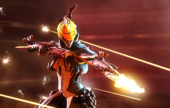 Picture girl, rendering, gun, warframe, mesa, gunslinger