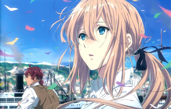 Picture face, the wind, blue sky, from the back, parahod, sheets of paper, Violet Evergarden, Claudia …