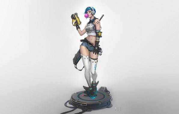 Picture Girl, Gun, Art, Style, sci-fi, Background, Weapon, Minimalism, Cyber, First, Cyberpunk, Dan Pogrebn, Bubble gum, …