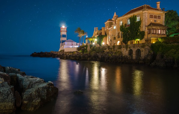 Picture sea, the sky, landscape, night, house, the ocean, shore, lighthouse, stars, lighting, Portugal