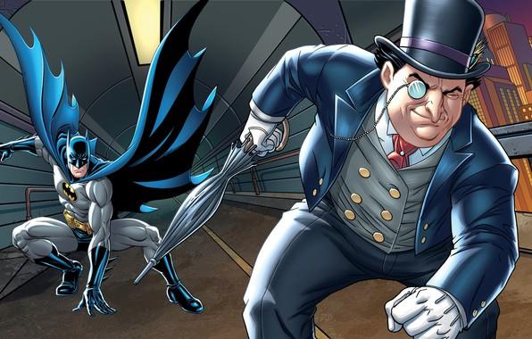 Picture The city, The tunnel, Batman, Costume, Umbrella, Building, City, Hat, Umbrella, Chase, Hero, Cloak, Superhero, …