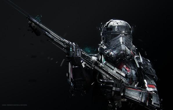Picture Star Wars, fantasy, science fiction, sci-fi, movie, stormtrooper, digital art, film, rifle, artwork, black background, …