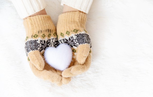 Picture winter, snow, snowflakes, heart, love, heart, winter, mittens, snow, hands, snowflakes