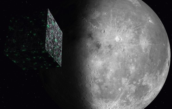 Picture space, the moon, space, moon, Star Trek, kosmos, Star trek, Borg Cube, Cube Borg, Borg, …
