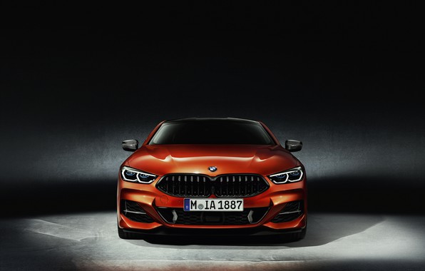 Picture orange, background, coupe, BMW, front view, Coupe, 2018, 8-Series, Eight, G15