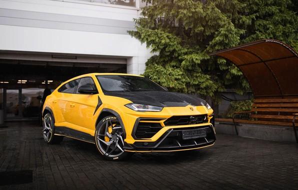 Picture Lamborghini, supercars, Lamborghini Urus, 2019, SUVs, Lamborghini Urus Yellow Vogue