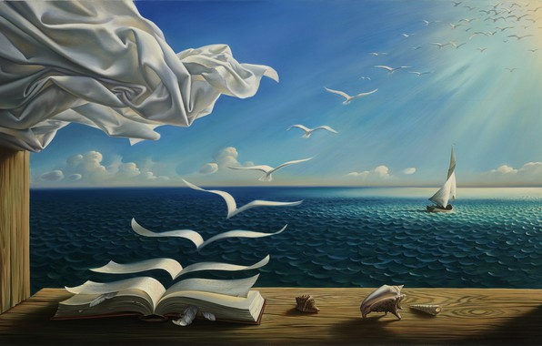 Picture sea, wave, clouds, birds, picture, horizon, window, sail, book, shell, painting, the rays of the …