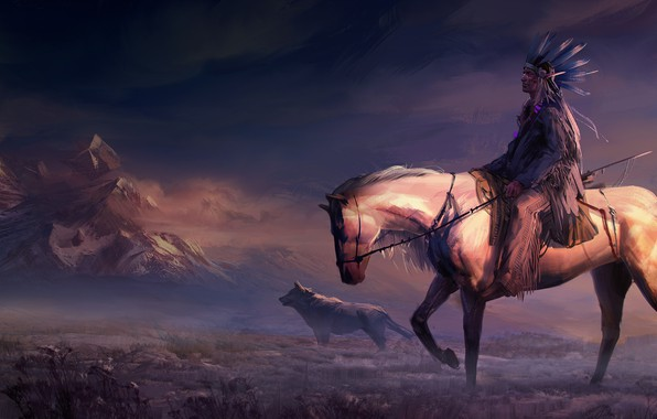 Picture field, animals, art, mountains, rider, horse, digital art, artwork, painting art, woles, Native American