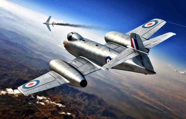 Picture fighter-interceptor, The Korean war 1950-1953, Meteor, Gloster, F.Mk.8