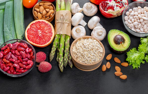 Picture photo, Mushrooms, Food, Nuts, Grapefruit, beans, Asparagus, Avocado, Beans