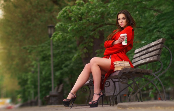 Picture girl, bench, pose, Park, books, heels, legs, cloak, sandals, Alexander Drobkov-Light, Alice Skvortsova