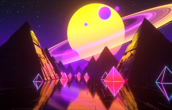 Picture Music, Stars, Planet, Space, Pyramid, Pyramid, Background, Neon, Synth, Retrowave, Synthwave, New Retro Wave, Futuresynth, …