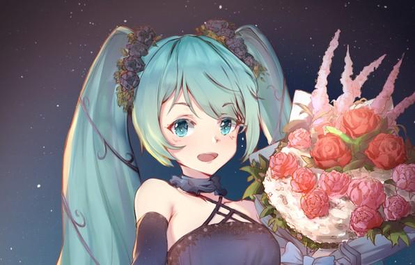 Picture flowers, smile, bouquet, girl, Hatsune Miku, Vocaloid, Vocaloid, Hatsune Miku