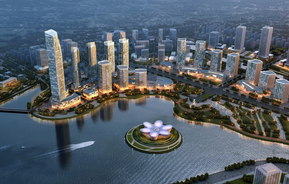 Picture city, lights, glass, road, trees, bridge, modern, water, park, lake, island, reflection, digital art, architecture, …