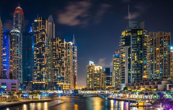 Picture building, home, Bay, Dubai, night city, Dubai, skyscrapers, harbour, UAE, UAE, Dubai Marina, Dubai Marina