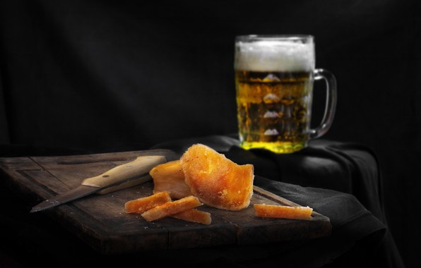 Picture beer, knife, still life, photographer Sergey Pounder, Caviar of a pike perch