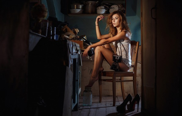 Picture girl, pose, the camera, chair, kitchen, shoes, dishes, Andrei Erastov