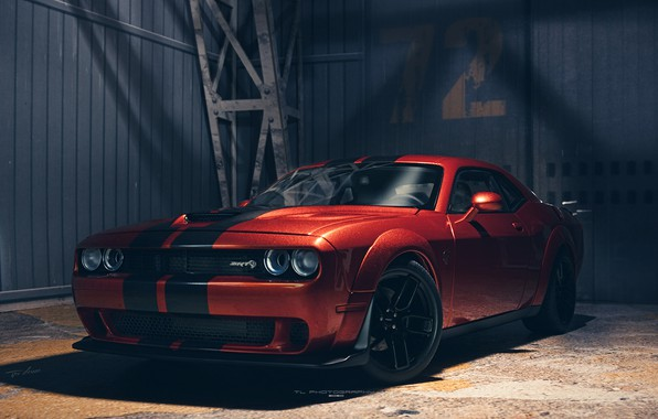 Picture Dodge Challenger, muscle car, Hellcat, Dodge Challenger SRT Hellcat