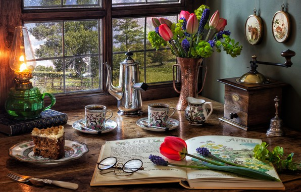 Picture flowers, style, books, lamp, coffee, bouquet, window, glasses, tulips, plug, still life, cake, Muscari, coffee …