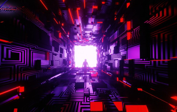 Picture room, silhouette, corridor, the tunnel, cube, geometry, cyberpunk, figure, sci-fi, cyberpunk, render, Tsotne Kharshiladze