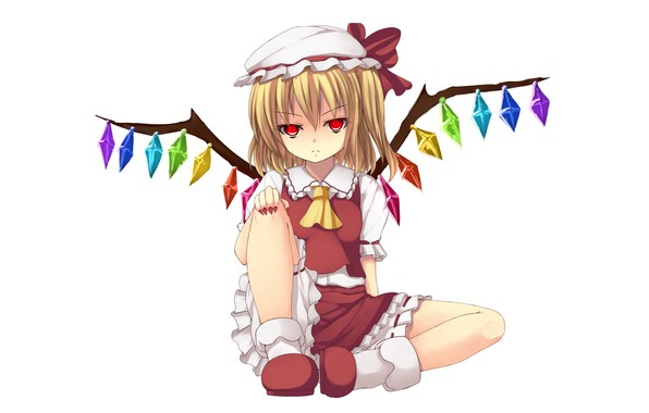 Picture white background, crystals, sitting, red eyes, cap, art, Touhou Project, Flandre Scarlet, Project East, Ixen-fei