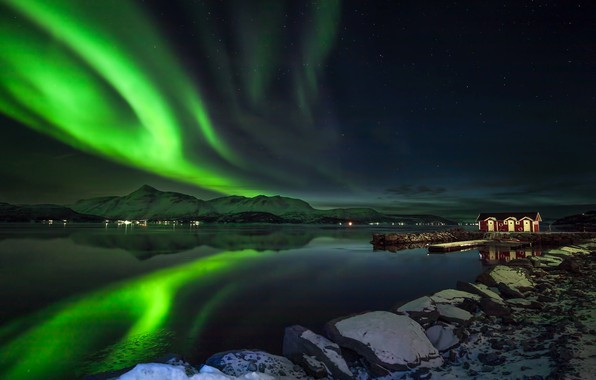 Picture winter, the sky, snow, mountains, night, lights, stones, shore, stars, Northern lights, Norway, Bay, houses, …