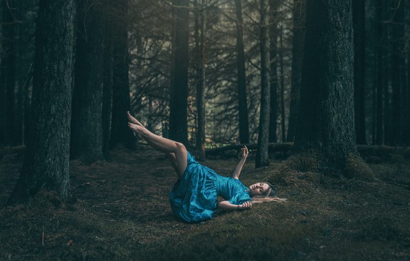 Picture forest, girl, flight, pose, fantasy, feet, dress, fairy, levitation, nymph