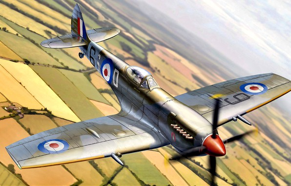 Picture UK, Royal Air Force, Spitfire Mk.XVI, fighter - bomber, Packard Merlin 266, with a teardrop …