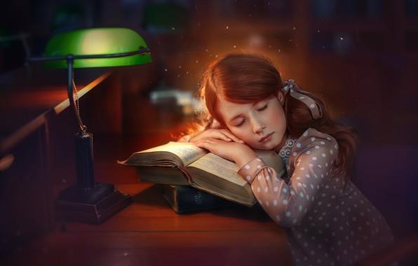 Picture books, lamp, sleep, girl, sleeping, Любовь Пятовская