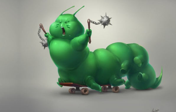 Picture baby, art, skateboard, Anna Anikeyka, Caterpillar-warrior, fantasy