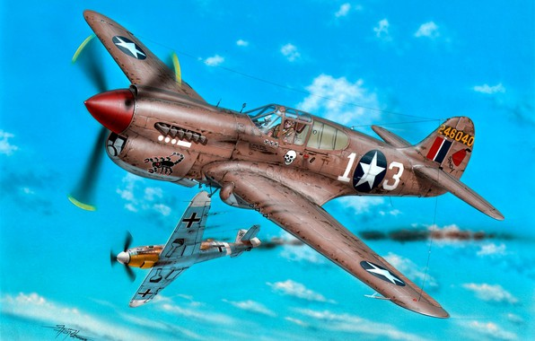 Picture fighter, Bf.109, WWII, Combat aircraft, P-40K, 57th Fighter Group, 64th Fighter Squadron, Lt R.Johnson