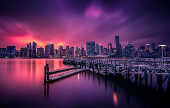 Picture night, the city, lights, surface, USA, New York