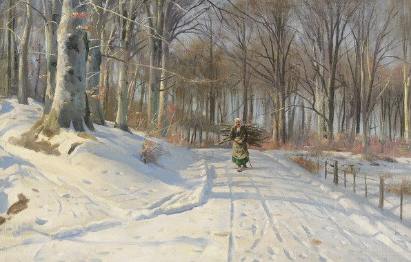 Picture 1932, Danish painter, Peter Merk Of Menstad, Peder Mørk Mønsted, Danish realist painter, Winter day …