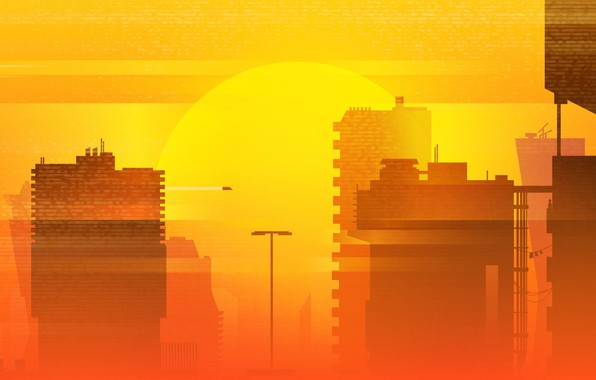 Picture Sunset, The sun, Minimalism, The city, Summer, Synth, Retrowave, Synthwave, Futuresynth, Sintav, Retrouve, by Michael ...