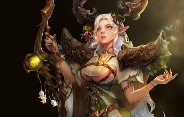 Picture fantasy, art, staff, Druid, druid, A-YOUN KIM