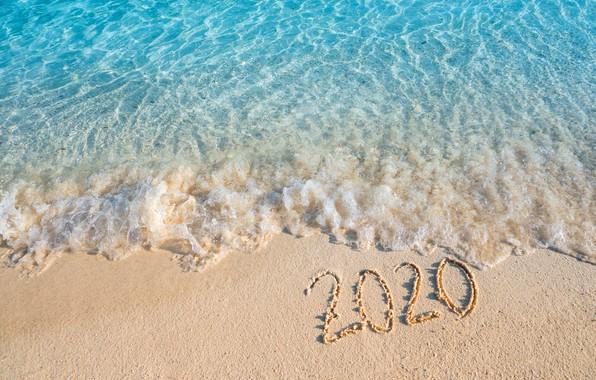 Picture sand, sea, beach, New year, new year, happy, beach, sea, sand, 2020