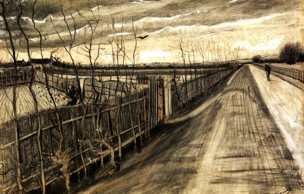 Picture road, street, people, Vincent van Gogh, running, Country Road, areas