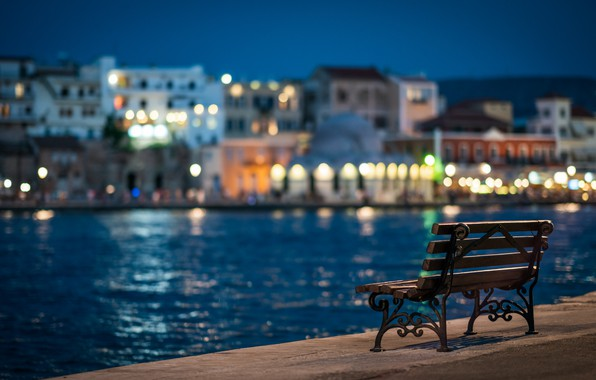 Wallpaper the city, lights, river, the evening, promenade, bench