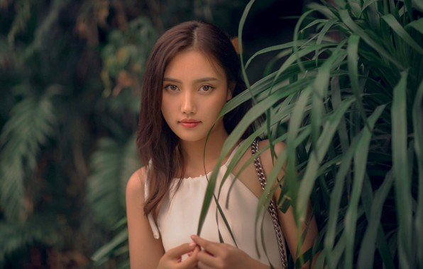 Picture look, leaves, girl, nature, brunette, chain, blouse, top, Asian