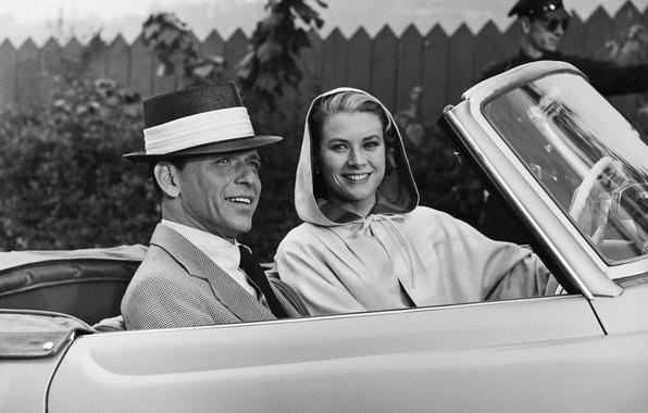 Picture actors, car, Grace Kelly, Frank Sinatra, Frank Sinatra, Grace Kelly