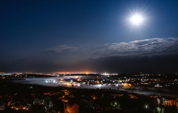 Picture night, lights, the moon, Russia, Nizhny Novgorod, Igor Kondakov, Igor Kondukov