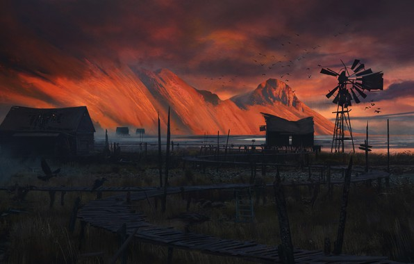 Picture The evening, Mountains, Figure, House, Landscape, Art, Illustration, Concept Art, Environments, by Pace Wilder, Pace …
