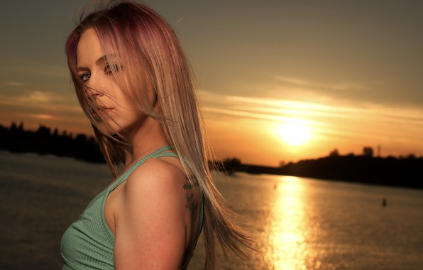Picture girl, sunset, sweetheart, hair