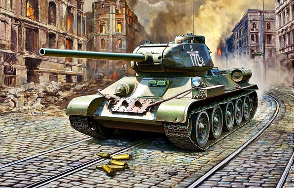 Picture sleeve, tram tracks, T-34/85, The Red Army, WWII, the ruins of the house, 4th GW.MAF, …