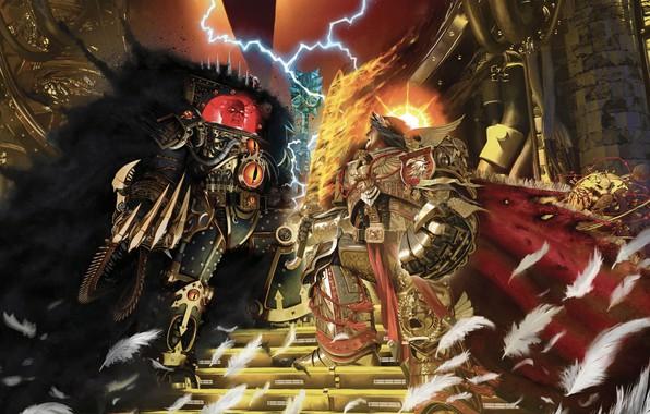 Picture Horus Heresy, battle, Warhammer 40 000, Emperor of Mankind, Horus, artbook, traitor, primarch
