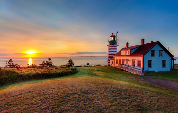 Picture sunset, shore, lighthouse