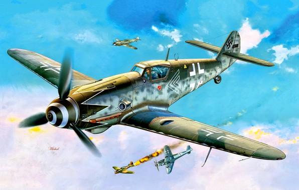 """Picture Messerschmitt, Bf-109, WWII, Bf.109G-10, JG52, Erich """"Bubi"""" Hartmann"""